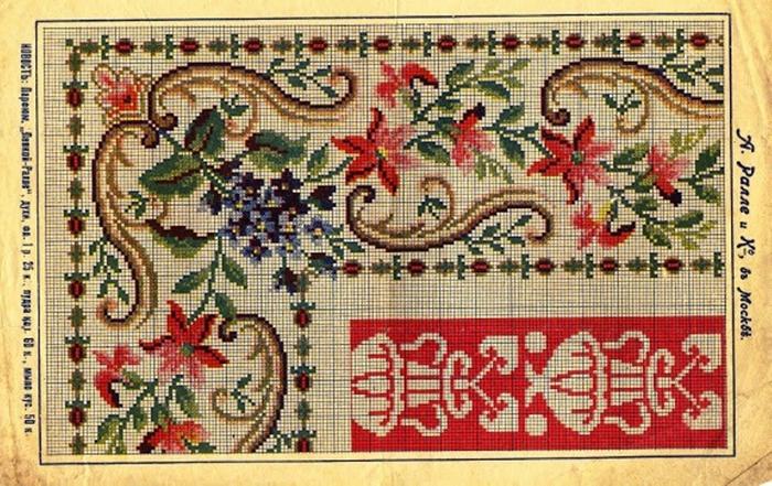 Старинные схемы для вышивки крестиком 977