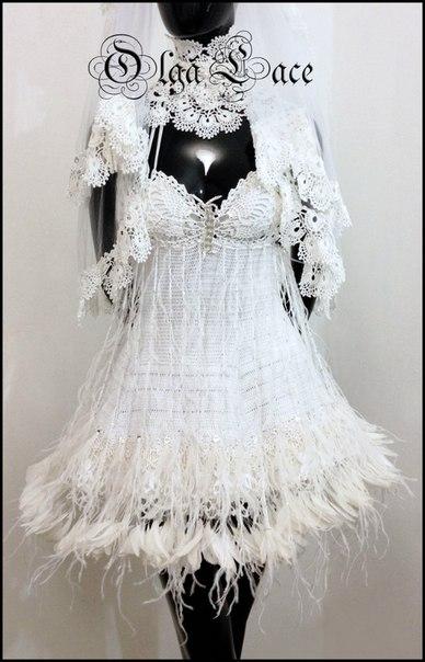 Белый вязаный креатив от Olga Lacе