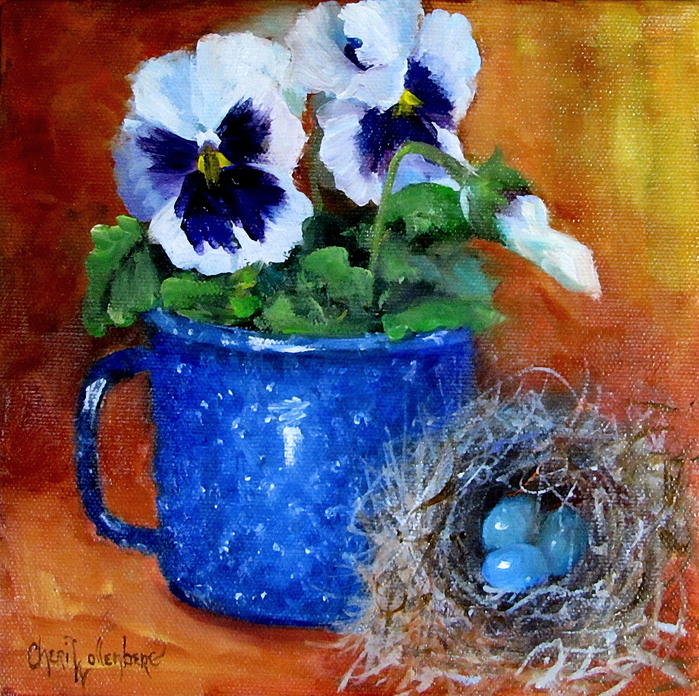 Pansies in Blue Enamelware Cup  - Cheri Wollenberg (700x696, 664Kb)