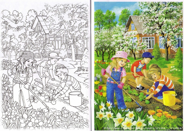 картинки раскраски работы весенние во дворе стеблях