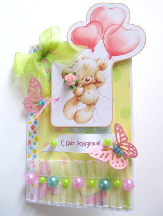 Открытка на детский день рождения скрапбукинг