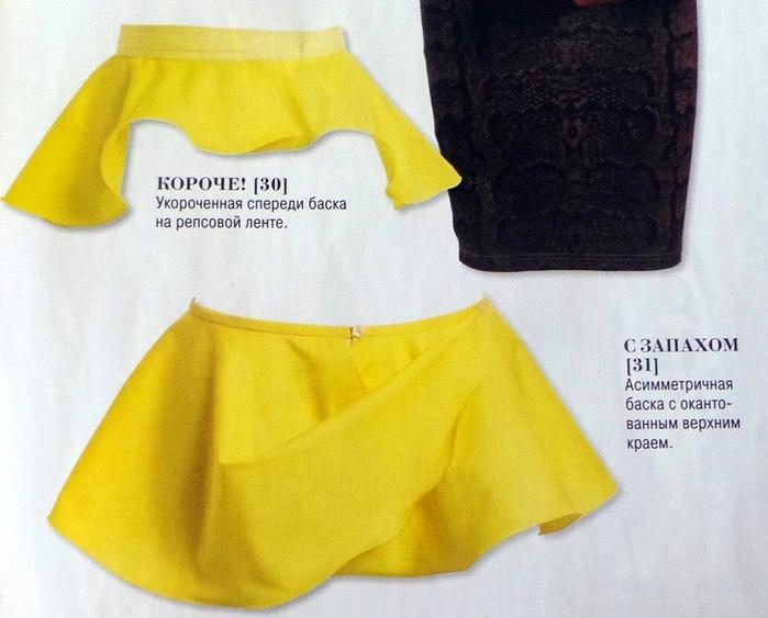 Выкройка баски для юбки - Выкройка
