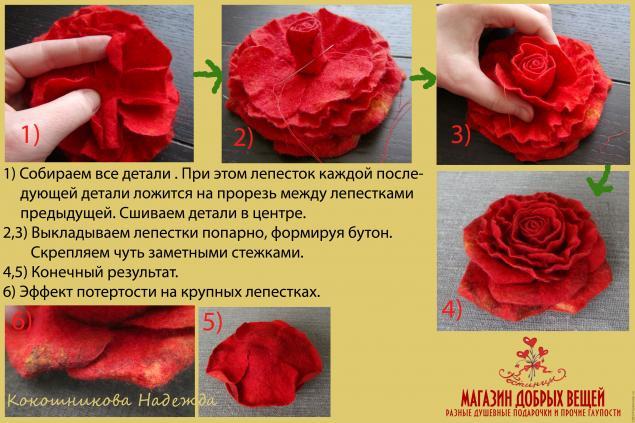 Роза из шерсти. МК