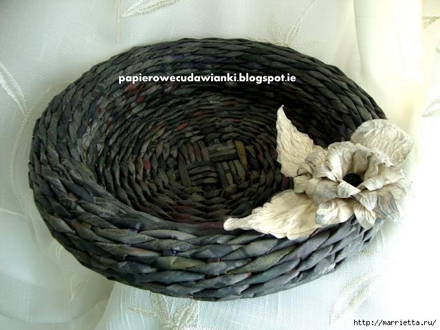 Плетение из газет. Объемная вазочка для фруктов (3) (640x480, 218Kb)