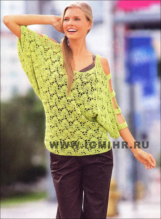 пуловер ажурный спицами летучая мышь