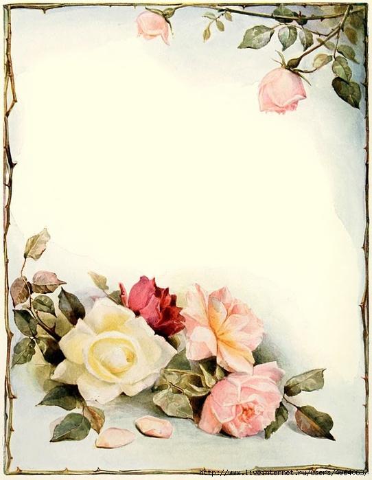 Открытка чистая с цветами, мне