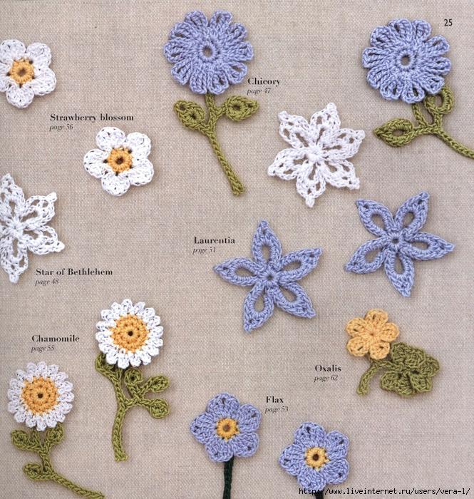схемы вязания маленьких цветочков крючком