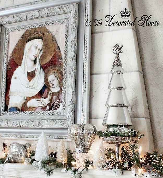 The Decorated House 2013 Christmas Mantel Mercury Glass, Crown s (625x683, 303Kb)