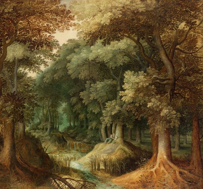 Читающий отшельник в лесном пейзаже (A hermit reading in a wooded landscape) Частное собрание