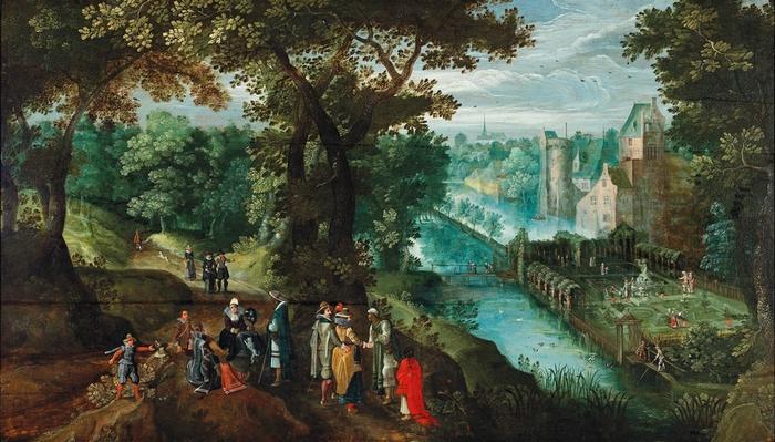Общество в речном пейзаже (An elegant party in a river landscape) (атр) Частное собрание