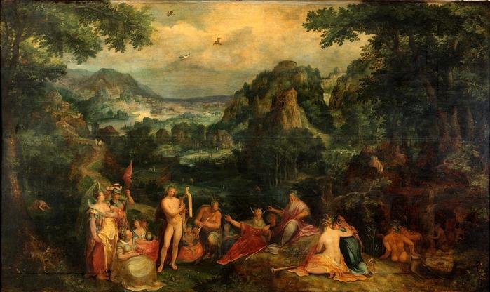 1558 Пейзаж с судом Мидаса (Landscape with the judgment of Midas) Дрезден, Картинная галерея старых мастеров
