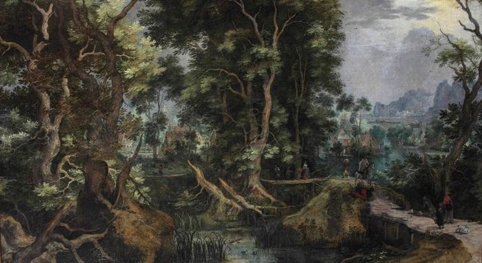 1607 Лесистый речной пейзаж с путешественниками на деревянном мосту (A wooded river landscape with travellers) Частное