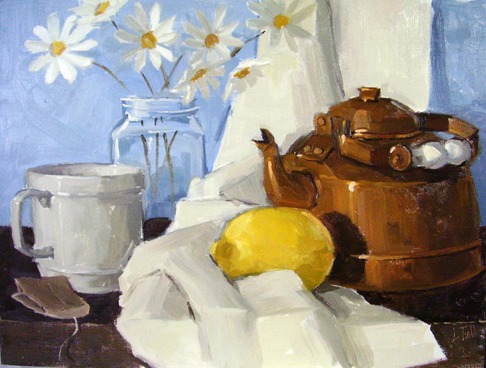 Lindsey Elizabeth Tull-copper-tea-pot-and-daisies (700x529, 464Kb)