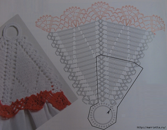 Обвязываем крючком кухонные полотенца. Схема (4) (700x545, 288Kb)