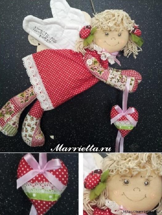 Текстильная подвеска. Девочка АНГЕЛ с валентинкой (4) (526x700, 296Kb)