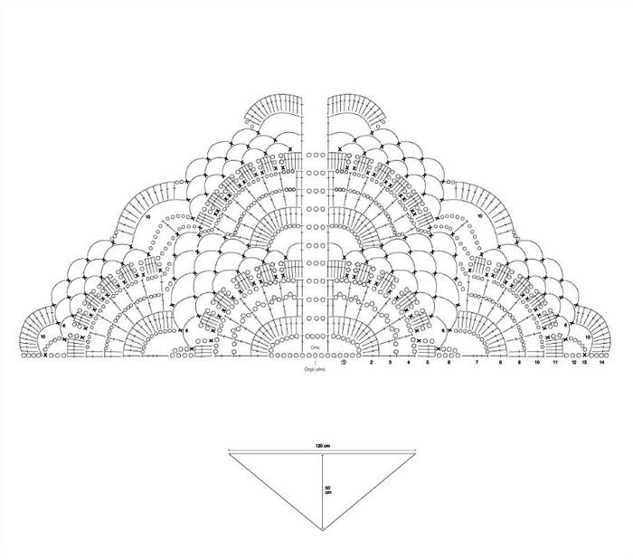 крючком шали схема веерного узора для