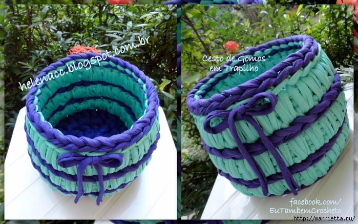 Коврик и корзинка крючком из пряжи спагетти (2) (700x437, 305Kb)