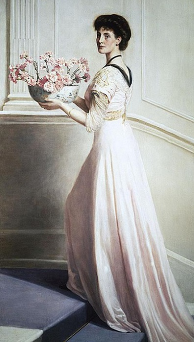 lady-with-a-bowl-of-pink-carnations (396x700, 91Kb)