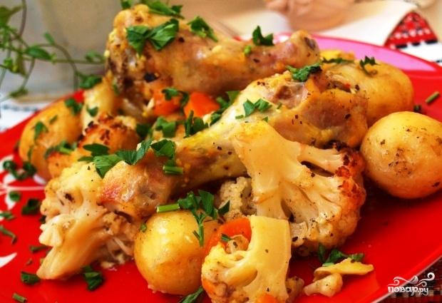 Картофель с цветной капустой в духовке
