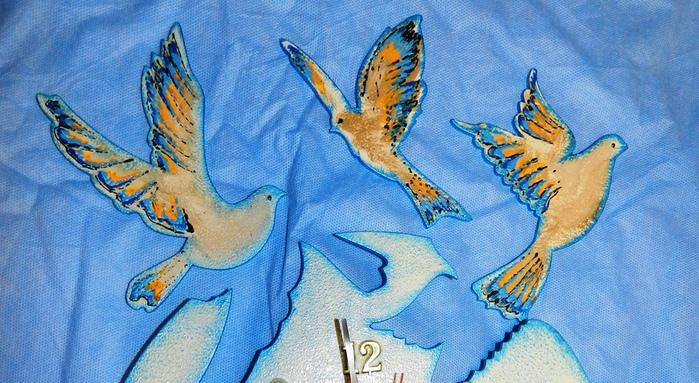 Открытка я синий птицы, лилиями