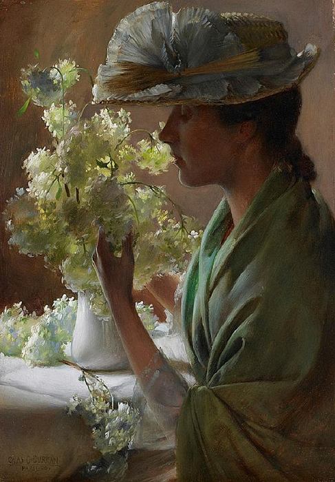 Charles Courtney Curran - Lady with a Bouquet (Snowballs) (487x700, 281Kb)