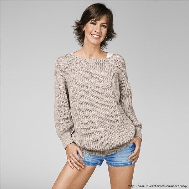 Пуловер с рукавами реглан спицами (английская резинка) 70