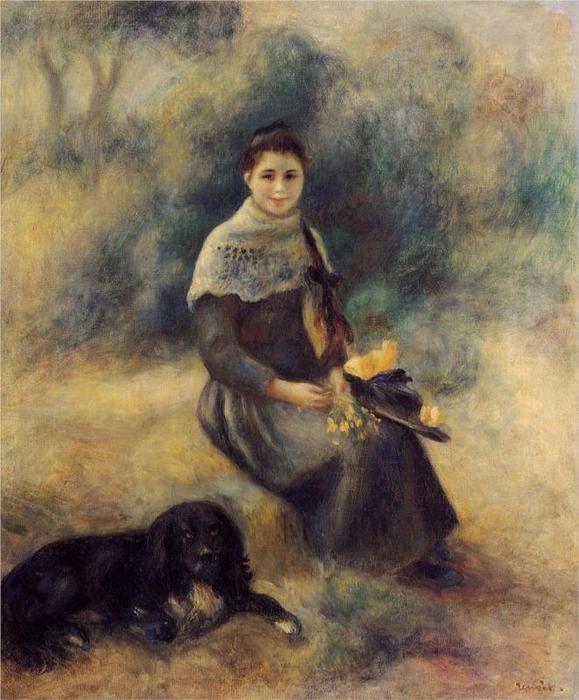 Молодая девушка с собакой, 1888 (579x700, 62Kb)