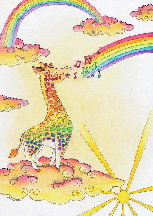 Картинка жираф на радуге