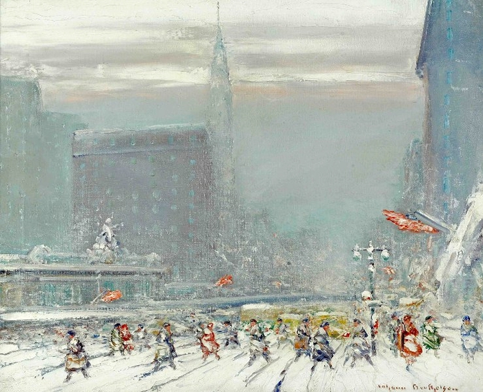 View Of Grand Central Station From 42nd Street In The Snow (700x568, 323Kb)