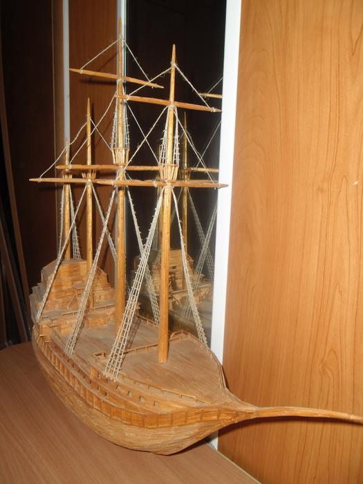 фото инструкция создания из спичек корабля как прилетели море