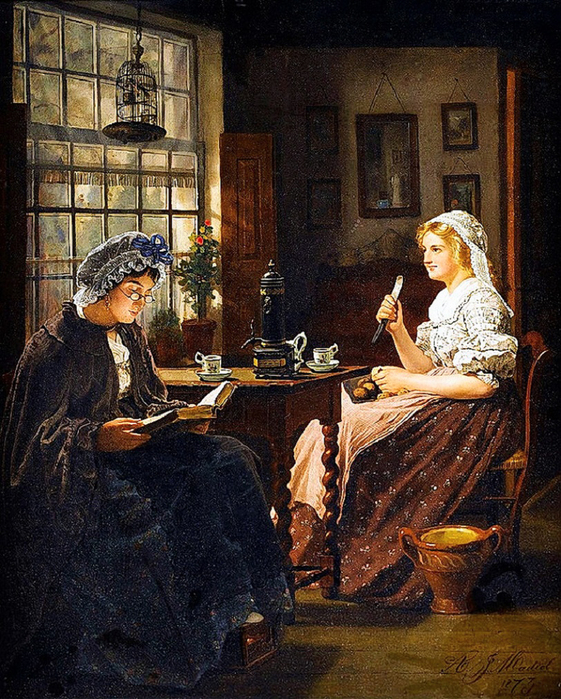 Adrien Jean Madiol (Dutch, 1845-1892). Peeling potatoes (561x700, 460Kb)