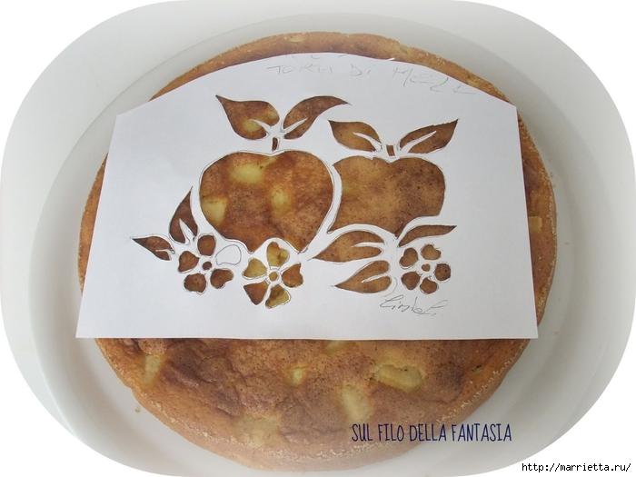 Яблочный пирог. Простой рецепт, но очень оригинальное оформление (6) (700x525, 216Kb)