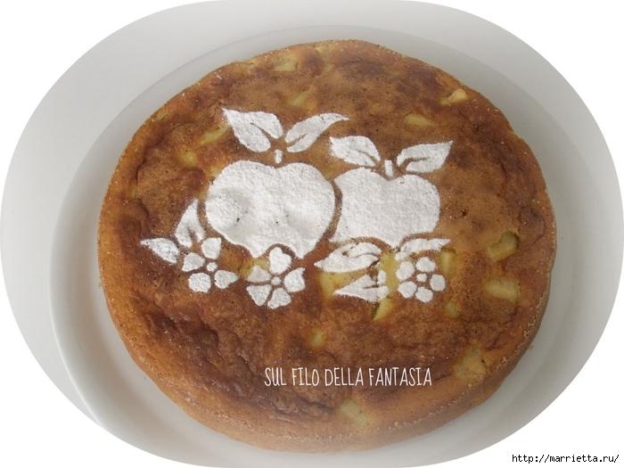 Яблочный пирог. Простой рецепт, но очень оригинальное оформление (9) (700x525, 230Kb)