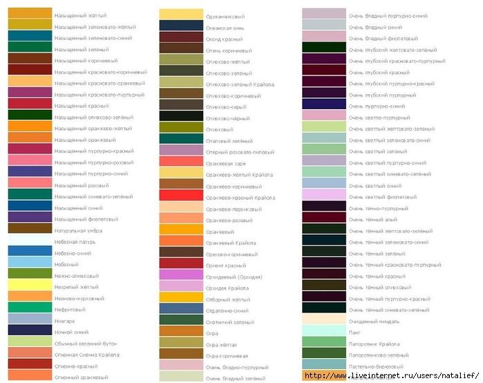 Название цветов красок лореаль
