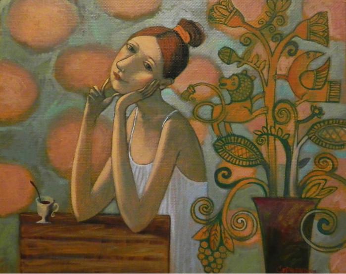 женщина кофе живопись олеся сержантова