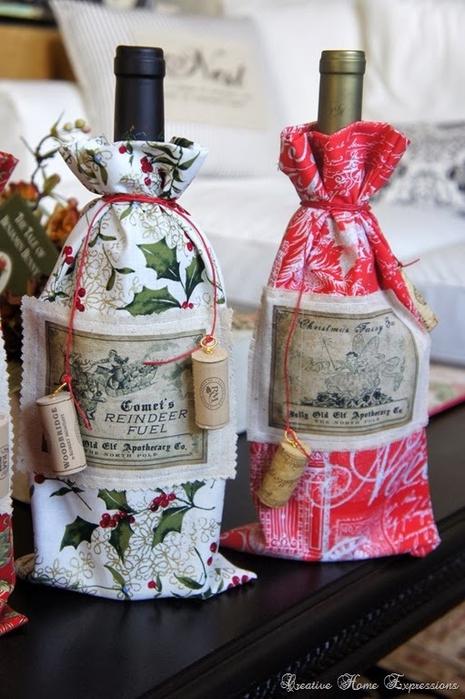 рождественское украшение винных бутылок (11) (465x700, 246Kb)