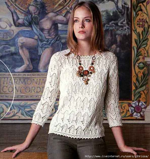 6e5390cc08e Белый ажурный пуловер спицами. Обсуждение на LiveInternet ...