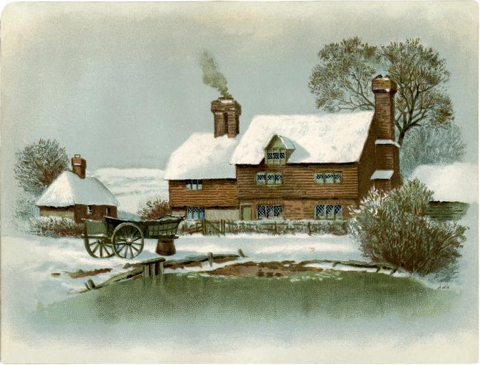 Зимняя старинная открытка, новый год