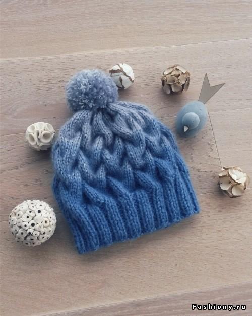 вязание шапка с косами и эффектом градиент мастер класс