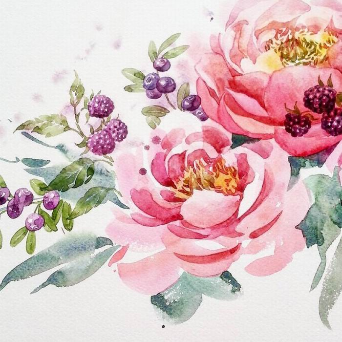 Цветы картинки нарисованные акварель