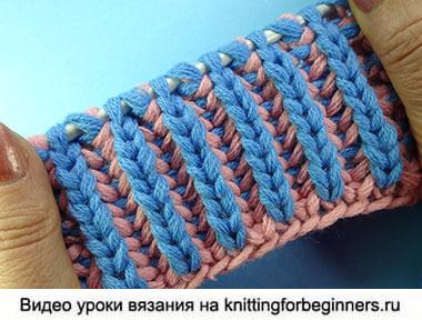 вязание спицами узоры спицами резинка спицами двухцветная