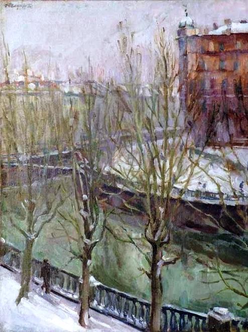 32 Зимний пейзаж с рекой. 1937 (494x660, 372Kb)