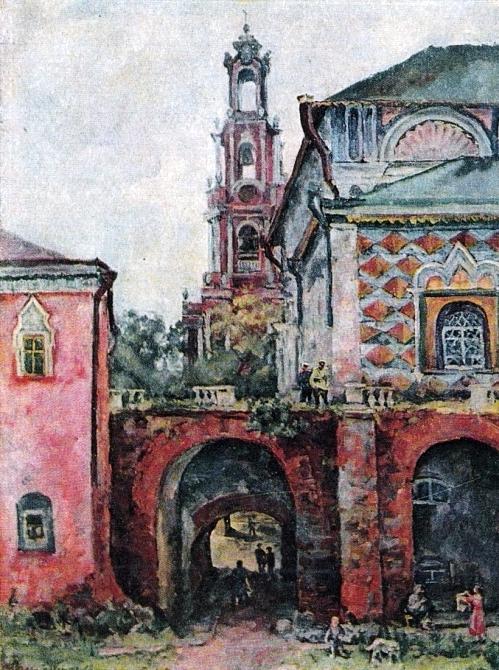43 Осень. Колокольня Растрелли-Ухтомского в Троице-Сергиевой лавре. 1944 (499x670, 433Kb)