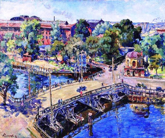 45 Александр Осмёркин «Ленинград. Пейзаж с деревянным мостом» 1946 (700x585, 673Kb)