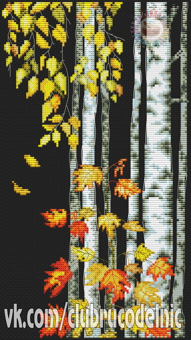 Birch leaves falling (393x700, 445Kb)