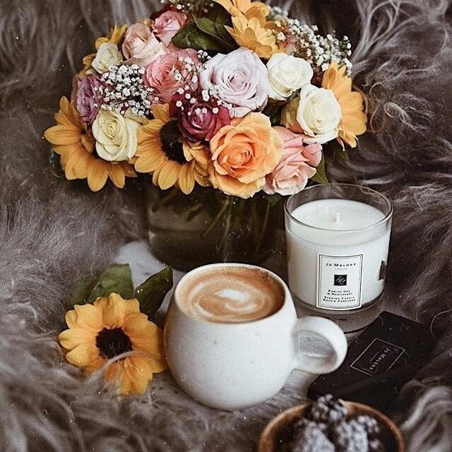 Романтичные осенние картинки с кофем и цветами