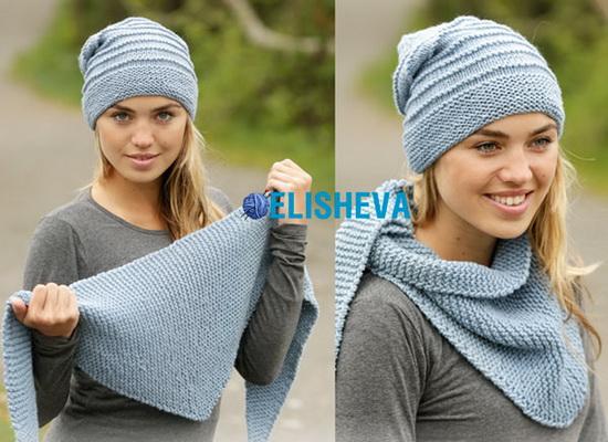 простое вязание спицами шапка и шаль спицами от Drops Design