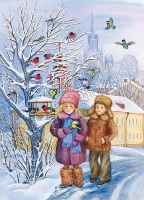 Картинки покормите птиц зимой для детей, поздравить