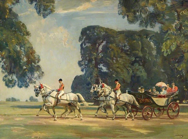 The Royal Carriage Entering the Long Walk, Windsor, on the Return from the Ascot Races, 1925 (652x481, 331Kb)