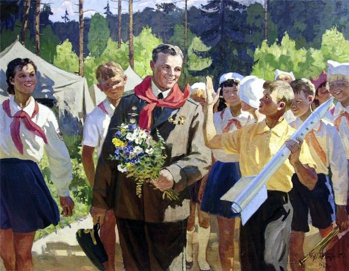 Гончаров Григорий Андреевич - Гагарин среди пионеров (1967) (700x544, 458Kb)